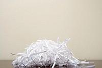 Shredded paper on desk