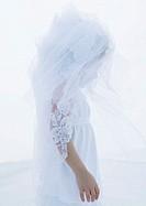 Little girl wearing bridal veil, side view