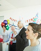 Group of coworkers at a retirement party, Redwood City, California, United States