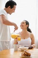 Hispanic couple at the breakfast table
