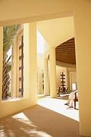 Sunlit lobby of resort hotel, Los Cabos, Mexico