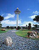 Singapore, Changi Airport, garden with control tower