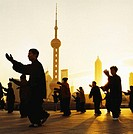 China, Shanghai, people doing Taichi, in front of Pudong, Business district skyline, at dawn