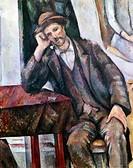 Ü Kunst, Cezanne, Paul (1839 - 1906), Gemälde ´Der Raucher´, 1890-92, Öl auf Leinwand, 91 x 72 cm, Pushkin Museum Moskau mann pfeife rauchend, kopf au...