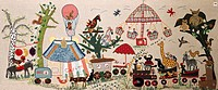 festivity, fairs, fair at Schellenberg, embroidery, by Josepha Heinrich, Peiting, 20th century, private collection, historical, historic, Europe, Germ...