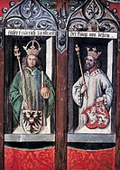 fine arts, fresco, Emperor Frederick III an King George Podiebrad of Bohemia, painting by Peter von Kaltenhoff, 1467, guild hall, Weaver House in Augs...