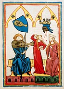 fine arts, middle ages, Gothic, illumination, Codex Manesse, Zurich, 1305 - 1340, Master Reinmar the fiddler, covering colour on vellum, University of...