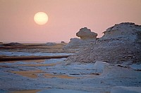 Sunrise. The White Desert near Farafra Oasis. Egypt