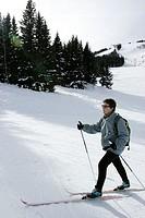 CROSS COUNTRY SKIING<BR>Model.<BR>Meribel and Courchevel ski resorts in Savoy Alpine valley.