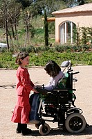 HANDICAPPED PERSON<BR>Photo essay.<BR>A vacation center accessible to the handicapped managed by the Bastidon de Lucie association (Isabelle and Luigi...