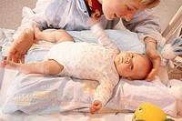 INFANT HOSPITAL PATIENT<BR>Institut de Puériculture, a prenatal and pediatric center in Paris, France. Mother nursing baby.