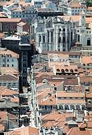 Elevador de Santa Justa and Igreja do Carmo, view from St. George´s Castle. Lisbon, Portugal (May, 2005)