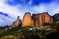 Mallos de Riglos in Huesca province. Aragon. Spain