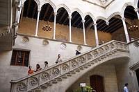 Gothic courtyard and stairs. Palau de la Generalitat. Plaça de Sant Jaume. Barcelona. Spain.