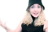 Silly blond woman with hat