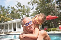 Grandfather and Granddaughter Ready for a Swim