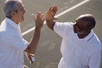 High angle view of two senior men congratulating each other on a tennis court