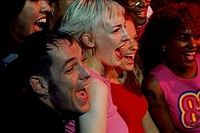 Close-up of a group of friends laughing together