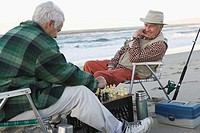 Two Men Playing Chess on the Beach