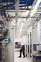 Computer Technician Working on Server