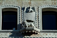 Low angle view of a statue on a wall, Venice, Veneto, Italy