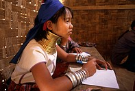 Close-up of a teenage girl studying, Thailand