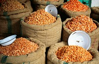 Thailand, Bangkok, Many sacks of dried shrimp at open market