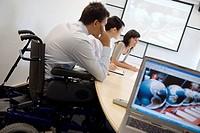 Fatronik Research Centre, San Sebastian Technological Park, Donostia, Gipuzkoa, Basque Country. Handicapped man in business meeting
