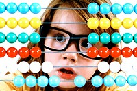 Girls, glasses, slide rules, portrait,,  broached  Child, schoolgirl, 4 years, preschool ages, support, abacuses, concentration, concentrates, reckons...
