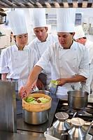 Cooking vegetables. Luis Irizar cooking school. Donostia, Gipuzkoa, Basque Country, Spain