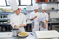 Peeling potatoes. Luis Irizar cooking school. Donostia, Gipuzkoa, Basque Country, Spain