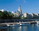Germany, Saxony, Dresden,  Brühlsche terrace, Frauenkirche,  Academy of arts, Elbufer, pleasure boat Europe, Central Europe, East Germany, city, city,...