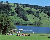 Germany, Bavaria, Immenstadt,  Alpsee, couch meadow, swimmers  Europe, Southern Germany, Allgaeu, OberAllgaeu, recreation area, Naherholungsgebiet, ba...