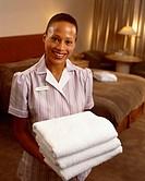Housekeeping Staff Holding Towels