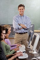 Instructor with Students in Computer Lab