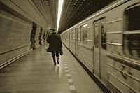 Businessman Rushing Past Subway