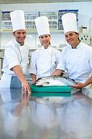 Chefs, salmon. Luis Irizar cooking school. Donostia, Gipuzkoa, Basque Country, Spain
