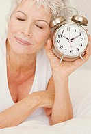 Senior, eyes, head, closed  resting, smiling, alarm clocks, portrait,  truncated Series, women portrait, woman, 60-70 years, well Age, well Agers, sho...