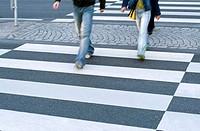 Fußgängerüberweg, passer-bys, Detail legs  Crossing, crosswalks, pedestrians, man, woman, Locomotion, going, pedestrian transition, transition, securi...