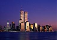Twin towers, Downtown skyline, Manhattan, New York, USA.