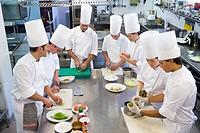 Preparing ingredients. Luis Irizar cooking school. Donostia, Gipuzkoa, Basque Country, Spain