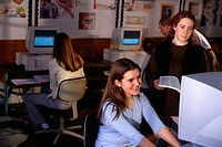 Teenagers Working at Computers