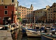 Italy, Ligurien, Riviera of di Levant,  Camogli, harbor,   North Italy, Mediterranean coast, Italienische Riviera, fisher village, houses, fisher harb...