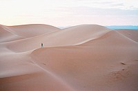 Morocco, desert, dunes, woman,  Dusk,    Africa, North Africa, Sahara, dune, sand, sand dune, drought, heat, dryness, nature, isolation, wideness, lon...