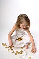 Girls, sitting, dress, gold Thaler,  collects,   Series, child, 6-8 years, blond, long-haired, little dress, summer dress, clothing, summery, nakedfoo...