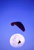 Gleitschirmflieger, silhouette, heaven, moon, [M],
