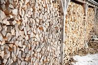 Wood push, firewood, detail, roofed,    Lumberyard, timberyard place, campsite, wood, logs, firewood, wood stack, stack, log, raised, stacked, storage...