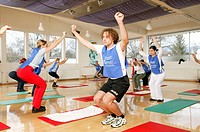 Fitness centers, trainers, women, aerobics,  NOT FREELY FOR TOURISM,  Series, aerobics hour, aerobics course, group, athletes, man, aerobics trainers,...
