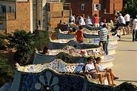 Spain, Barcelona, Parc Güell,  Unending bank, tourists,   Europe, Iberian peninsula, Katalonien, city, Güell-Park, architecture, Antonio Gaudi, 1900, ...