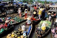 Vietnam. Mekong Delta. Can Tho. Floating market of Cai Rang.